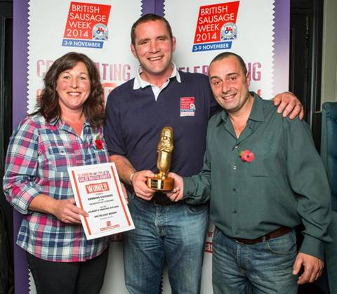Sue and Phil Ambrose receiving their awards from former England rugby player and Master Chef winner Phil Vickery