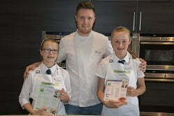 Freya and Abi with Masterchef the Professionals Winner and judge – Steven Edwards – chef at South Lodge Hotel, Horsham