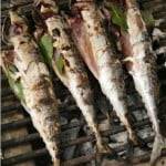 Mackerel barbecued over bay leaves