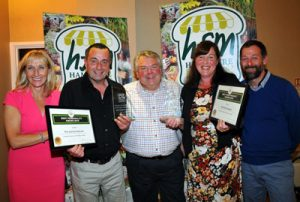 Winners of Best Food Producer Ambrose Sausages. L-R: Alex Handford (Business Manager for HFM), Phil Ambrose (Ambrose Sausages), Andy MacKenzie (guest speaker and Executive Chef at the Exclusive Chefs Academy), Sue Ambrose (Ambrose Sausages) and HFM Chairman Dwayne Bartram (Perfect Pickles)